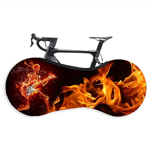 Bike Cover, Mountain Bicycle Wheel Dustproof Cover Washable Scratch-Proof Storage Bag for Road Bike MTB Bicycle Protector Bike Accessories Suitable for Tires of 24-26 Inches.Flame Guitar