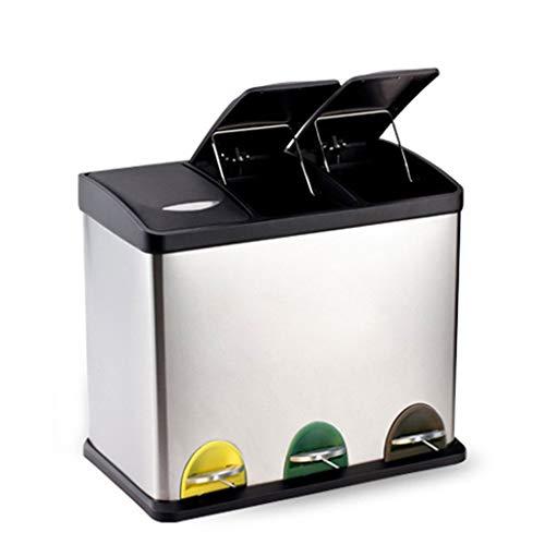 Debajo los contenedores encimera Cocina Multi Pedal Trash Bin Family Clasificación Antibacterial Y Resistente A Los Olores Acero Inoxidable (Color : Natural, Size : 45L)
