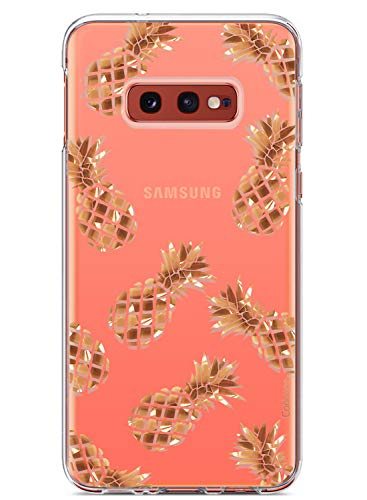 Coolwee Rose Gold Pineapple Case for Galaxy S10E Thin Slim Light Cute Shiny Foil Glitter for Women Girls Men Clear Plastic Hard Back Case Soft TPU Bumper Cover for Samsung Galaxy S10e 5.8 inch
