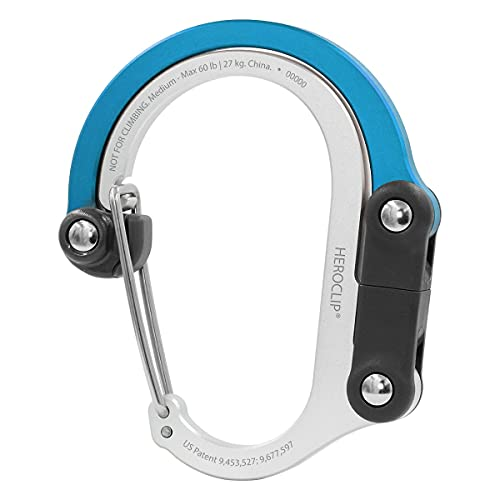 HEROCLIP Carabiner Clip and Hook (Medium) for Camping, Backpack, and Garage, Blue Steel