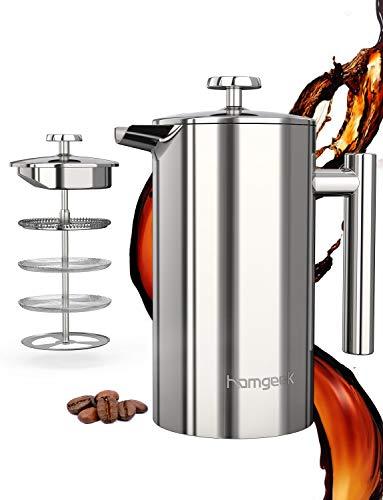 homgeek French Press Kaffeebereiter 304 Edelstahl, Kaffeebereiter Doppelwandig Isoliert 1 Liter (8 Tassen), Kaffeepresse mit 2 Extra Sieben, Kein Kaffeesatz, Silber