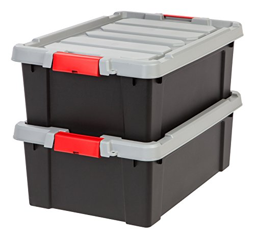 IRIS USA, Inc. 586520 Heavy Duty Stackable Utility Tote, 11.75 Gal, Black