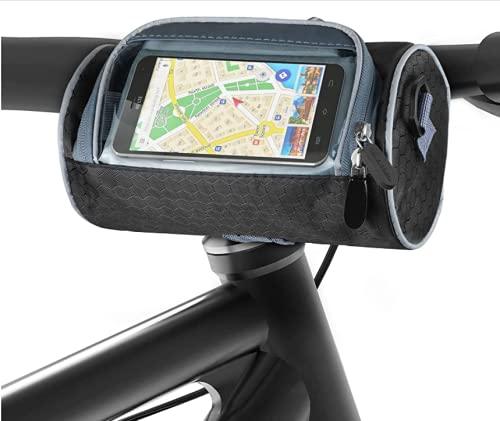 Komake Bolsa Manillar Bicicleta Impermeable, Bolsa Manillar Bicicleta 3L con Pantalla Bolsa para Manillar de Bicicleta Pantalla Táctil Bolsa con Cubierta para Lluvia para Bicicleta de Montaña o Ciudad
