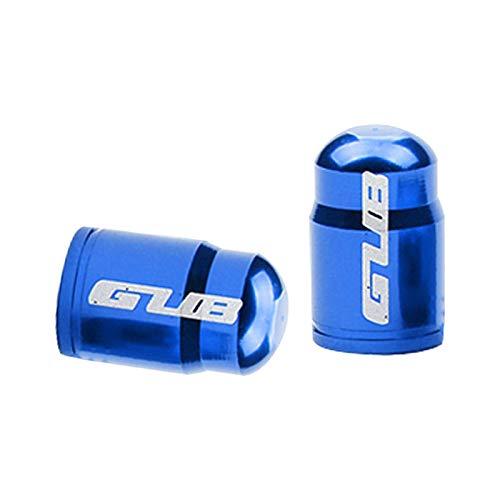 Par de tapa de válvula de neumático de bicicleta de aleación de aluminio para Presta francés/Schrader boquilla americana tapa de vástago de neumático - AV azul