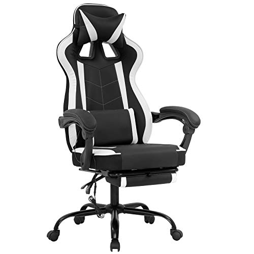 PC Gaming Chair Home Office Chair Racing Computer Chair with Lumbar Support Reclining Armrest Foot Rest Rolling Swivel PU Leather Ergonomic Task Desk Chair for Men(White)
