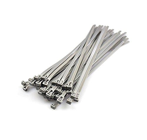 Silber Lösbare Kabelbinder 7.2mmx300mm, 50 Stück...