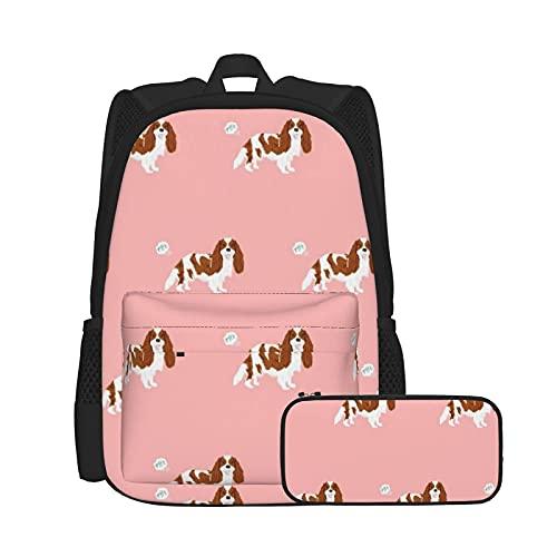 Set zaino casual e astuccio per computer portatile e astuccio combinato, zaino da lavoro e studio e borsa cosmetica con combinazione Cavalier Spaniel Fart divertente cane razza rosa
