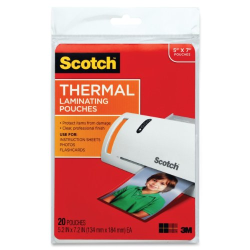 Scotch Thermal Laminating Pouches, 5 Mil Thick for Extra Protection, 5 x 7-Inches, 20-Pouches (TP5903-20),Clear