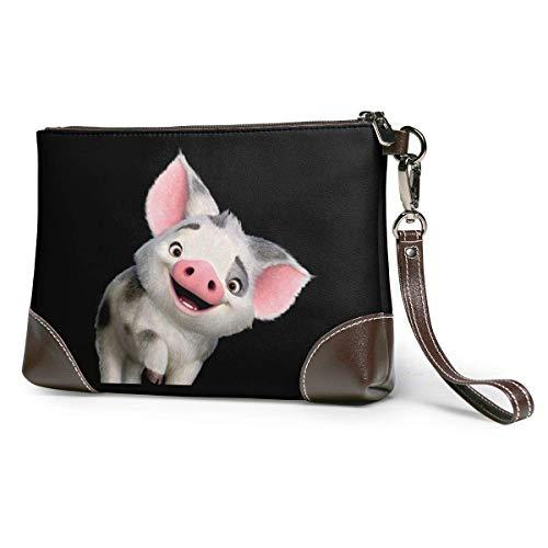 Lsjuee Richard Moana Pua The Pot Bellied Pig Logo Unisex Cartera de cuero de piel de vaca Bolso de mano Bolso de mano para teléfono inteligente Cartera de firma con correa