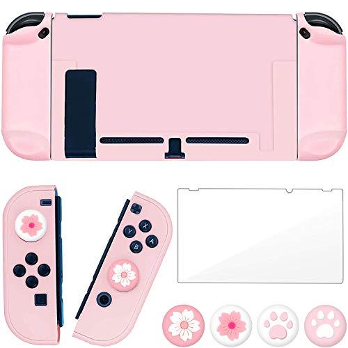 OLDZHU Custodia Rosa Compatibile con Nintendo Switch, Cover Protettiva Ultra Sottile Rosa per Console NS e Controller Joy-con,con Protezione per Schermo in Vetro e 4 impugnature per Pollice