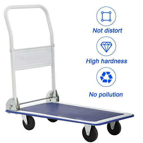 Flatbed Platform Cart Push Hand Truck Folding Dolly Moving Warehouse with Heavy Duty Rolling Casters 330lbs Weight Capacity,Blue