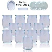 Vasos yogurtera de cristal con tapa pack de 12 botes para yogurtera de 143 Ml tarros para postres recipiente para moulinex , lidl , severin, braum y resto de yogurteras (Tapa Blanca)