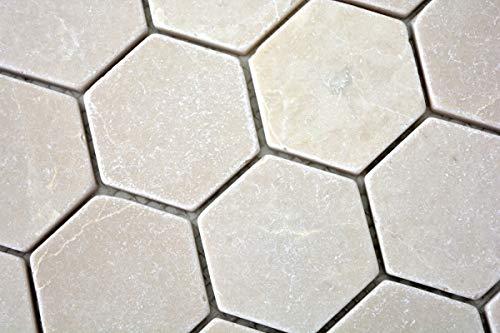 Mozaïek tegel marmer natuursteen beige Hexagon Marmer Botticino Anticato MOS42-1212_m