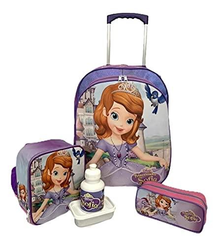 Kit Mochila Infantil Princesa Sofia Rodinhas G F5 Glitter
