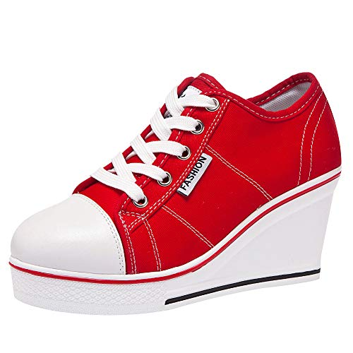 ANUFER Mujer Tacón de Cuña con Cordones Lona Zapatos Deportivos Alpargatas SN02435 Rojo EU38.5