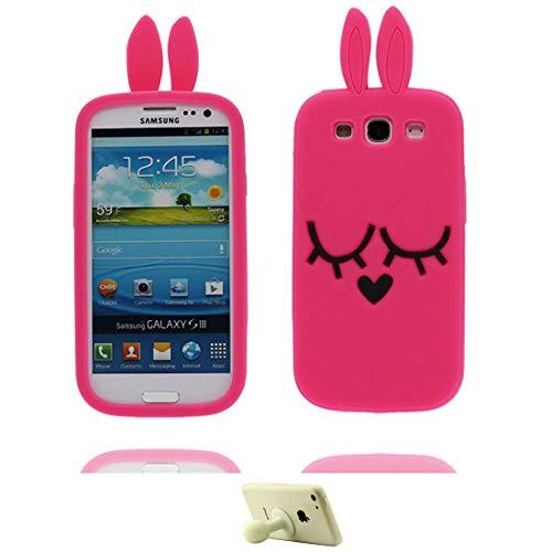 YuanYuZhongPhoneSky Samsung Galaxy S3 Carcasa, Gratis Soporte lechón Forme a Historieta Linda el Modelo 3D Suavemente TPU de Silicona Chica Niños Funda para Samsung Galaxy S3 Unicornio Conejo