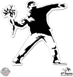 GT Graphics Banksy Flower Thrower - Vinyl Sticker Waterproof Decal