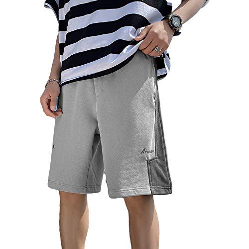 Pantalones Cortos de Pierna Recta de Ajuste Regular Versión Coreana de Verano de la Tendencia de Costuras de Color en Contraste Pantalones Deportivos Casuales Sueltos XXL