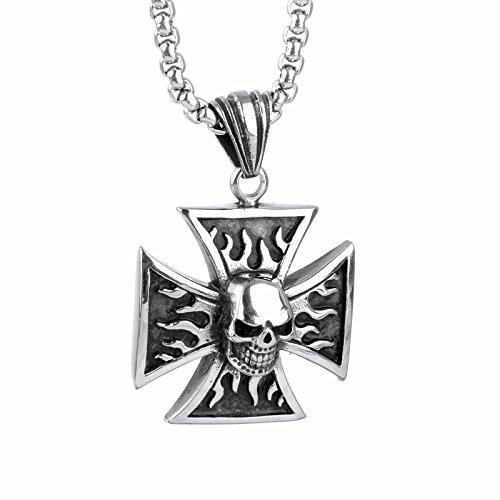 COPAUL joyas Gothic llamas Calavera Cruz inoxidable para hombre-remolque con 60 cm cadenas, Plata