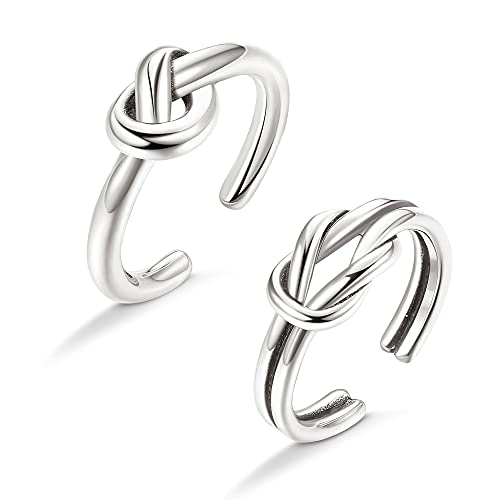 Slllaiss 2Pcs Celtic Knot Toe Rings 925 Sterling Silver Vintage Summer Beach Foot Jewelry Adjustable Tail Knuckle Rings for Women Good Luck Love Knot Open Toe Rings Set (Silver)