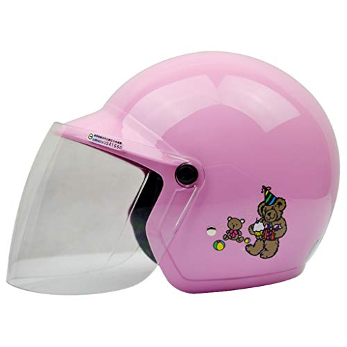 Kinder Helm Motorrad Vier Jahreszeiten Jungen und Mädchen Baby Vier Jahreszeiten Licht Kinder Helm Elektro Auto Helm (Farbe : Pink)
