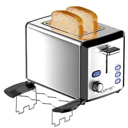 LOFTER Toaster 2 Scheiben Edelstahl Toaster mit Brötchenaufsatz, LED Countdown Anzeige, Breit Schlitz, 6 Bräunungsstufen, Brotzentrierung, Auftau, Aufwärm Stopp Funktion, 800W