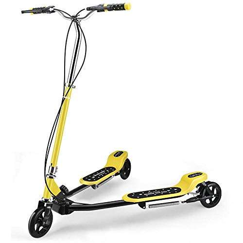 Save %26 Now! Carbon Steel Stunt Scooters Girls with 3,Yellow Foldable Kids V Scooter for Kid Ages 5...