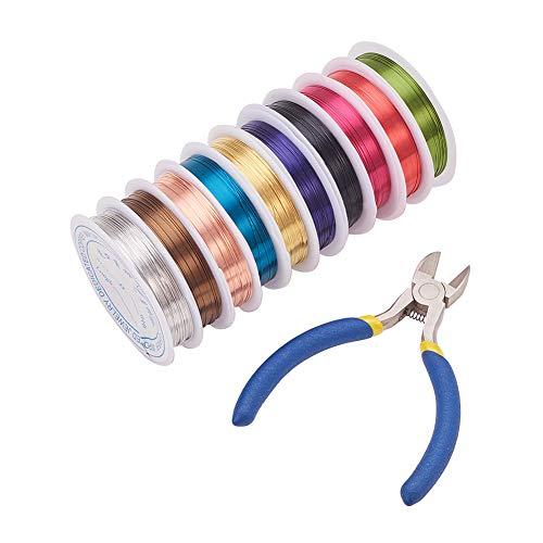 PandaHall Elite 10 rollos de 100 m de colores surtidos de 0,4 mm de alambre de cobre y hierro de corte lateral alicates para manualidades
