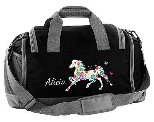 Mein Zwergenland Multi Sporttasche Kinder mit Schuhfach und Feuchtfach Sporttasche mit Namen Blumenpferd als Aufdruck Farbe Schwarz 41 L Stauraum die perfekte Sporttasche für Kinder