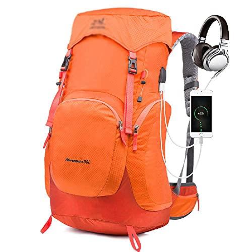 GJHYJK Zaino per Escursionismo Zaino Multiuso per Campeggio all'aperto Escursionismo Zaino per Scuola da Viaggio 50L USB Zaino Casual Pratico e Durevole,Orange-50L