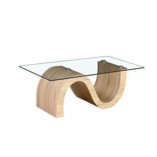 Table Basse en Verre 110x60xH41,5cm Pieds Look Bois