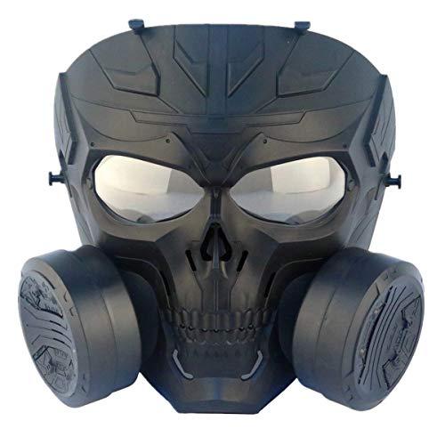 Fojmai Taktische Airsoft Paintball Schutzausrüstung Dummy transparente Linse Anti-Beschlag-Gasmaske mechanische Totenkopf-Maske mit doppeltem Turbo-Ventilator