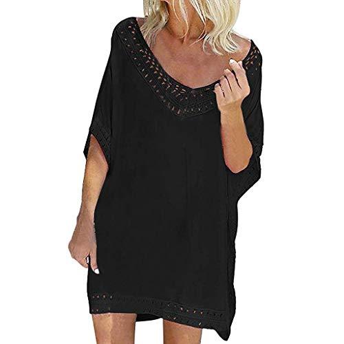 Cover Up Mujer Beachwear 2019 Nuevo SHOBDW Pareos Playa de Verano Casual Color Sólido Tops Blusa Fuera del Hombro Encaje Vestido Suelto Tallas Grandes S-XXL(Negro,XL)