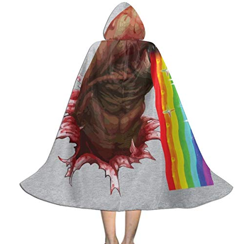 Alien Chestburster Puking Rainbow Snapchat Filter Unisex Kids Hooded Cloak Cape Halloween Party Decoration Role Cosplay Costumes Outwear