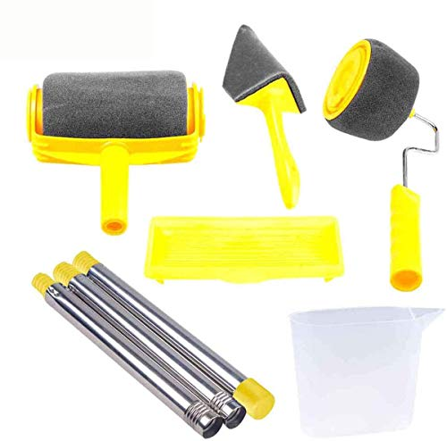 RNSSEZ 6PCS Paint Roller Brush Kit, 3 Telescopic Poles for House Wall,House, School & Office Wall, Ceiling,Quickly Decorate Runner Tool Painting Brush Set