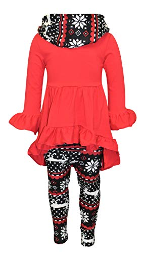 Unique Baby Girls Repeating Reindeer Tunic Top Christmas Outfit (9, Red)