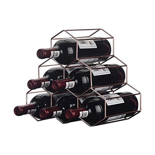 DAGONGREN Estante Independiente de Metal for Vino, Rack de Mesa de Vino Dorado, Porta Botellas de Vino de encimera - Metal Cepillado en Oro y diseño geométrico for gabinete de Bar for Bodega