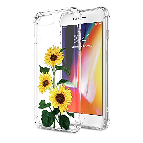 Yoedge Funda iPhone 7 Plus, Ultra Slim Cárcasa Silicona Transparente con Dibujos Animados Diseño Airbag Patrón 360 Bumper Case Cover para iPhone 7 Plus, Girasol