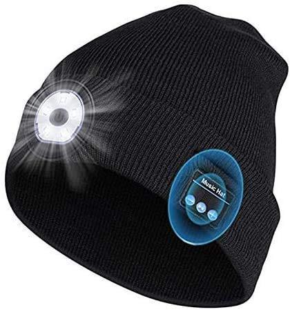 Bluetooth Mütze mit Licht Wireless Bluetooth 5.0 Beanie Musik Mütze USB Nachladbare Laufmütze Winter Wärmer Cap LED Emergency Hut Strickmütze für Herren Damen Skifahren Laufen Skaten Weihnacht