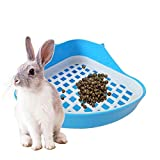 Cikuso Rabbit Toilet Litter Tray,Small Animal Toilet Corner Potty, Pet Litter Trays Corner for Rabbit, Hamster (Blue)