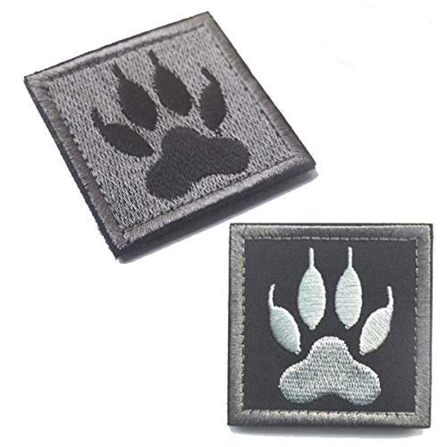 K9 Paw Handler Claw K9 Dogs Tracker of War Swat Morale Army Gear Fastener Patch Embroidered Hook Loop Backing Tactical Badge Swat for Service Animal Vest (2PCS)