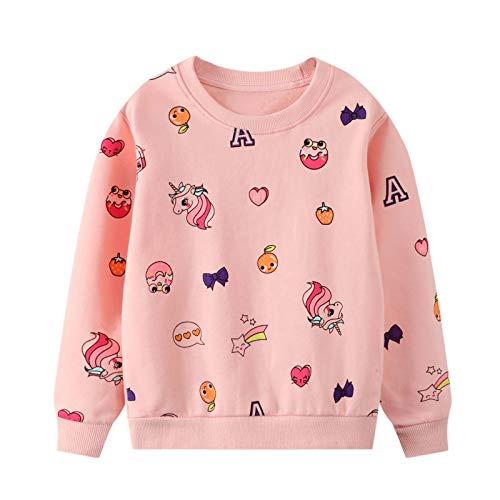 JinBei Sudadera Niña Camiseta Ropa Manga Larga Cuello Redondo Jersey Rosado Fresa Impresión de Unicornio Pull-Over con Algodón Casual Top 5-6 años