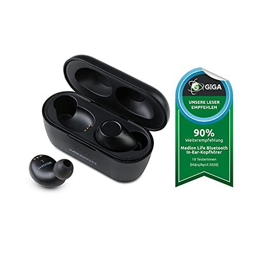 MEDION S62010 kabellose Bluetooth In-Ear Ohrhörer (kabellose Kopfhörer, Stereo, IPX4 Spritzwassergeschützt, BT 5.0, Touch Sensor, 50 mAh Akku, bis zu 6 Std. Laufzeit, Ladeetui) schwarz