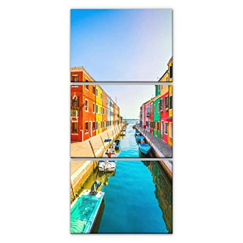venice landmark, burano island canal, colorful houses and boats, italy Modern Vertical Canvas Pictures Wall Art Artwork on Wrapped Canvas for Bedroom Living Room Decoration 3 Panels