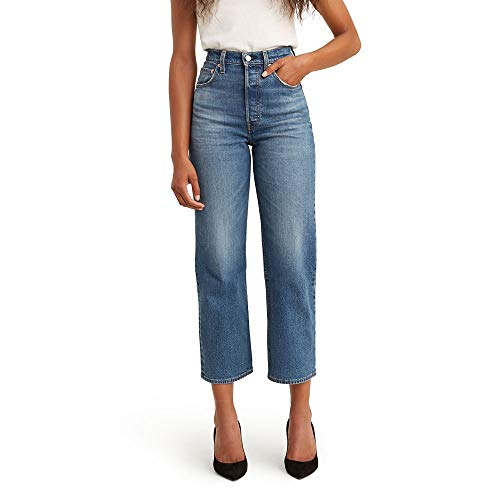 Levi's Women's Ribcage Straight Ankle Jeans, Charleston rain, 27 (US 4)