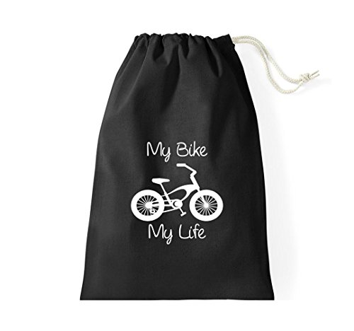 Unbekannt Turnbeutel Fahrrad my bike my life BMX Kult Gymsack Kultsack schwarz