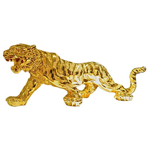 Tiger Resin Ornament Tiger Modell Statue Gold Kreative Tiger Figur Glückverheißendes Symbol Home Car Dekorative Ornament - 10.2x3.1x3.1inches