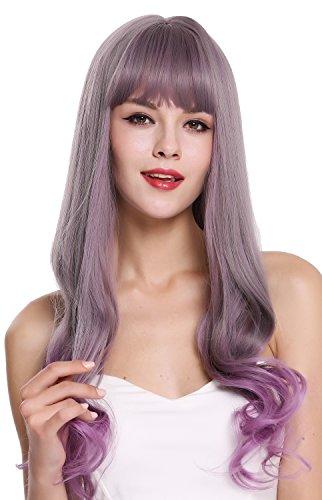 WIG ME UP - G1818-171/716 Perruque dame longue lisse pointes ondulées frange mélange gris violet