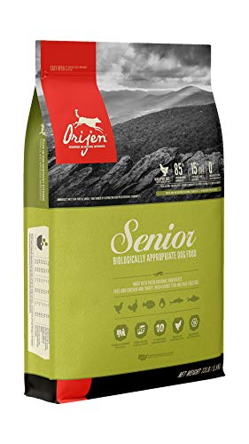 ORIJEN Senior Dry Dog Food, Grain Free, High Protein, Fresh & Raw Animal Ingredients, 13lb
