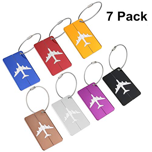 NUOLUX Kofferanhänger Koffer-Tags mit Namensschild Gepäckanhänger aus Metall 7 Stück